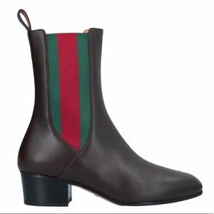 NEW Dark Brown Gucci Leather Block Heel Boots